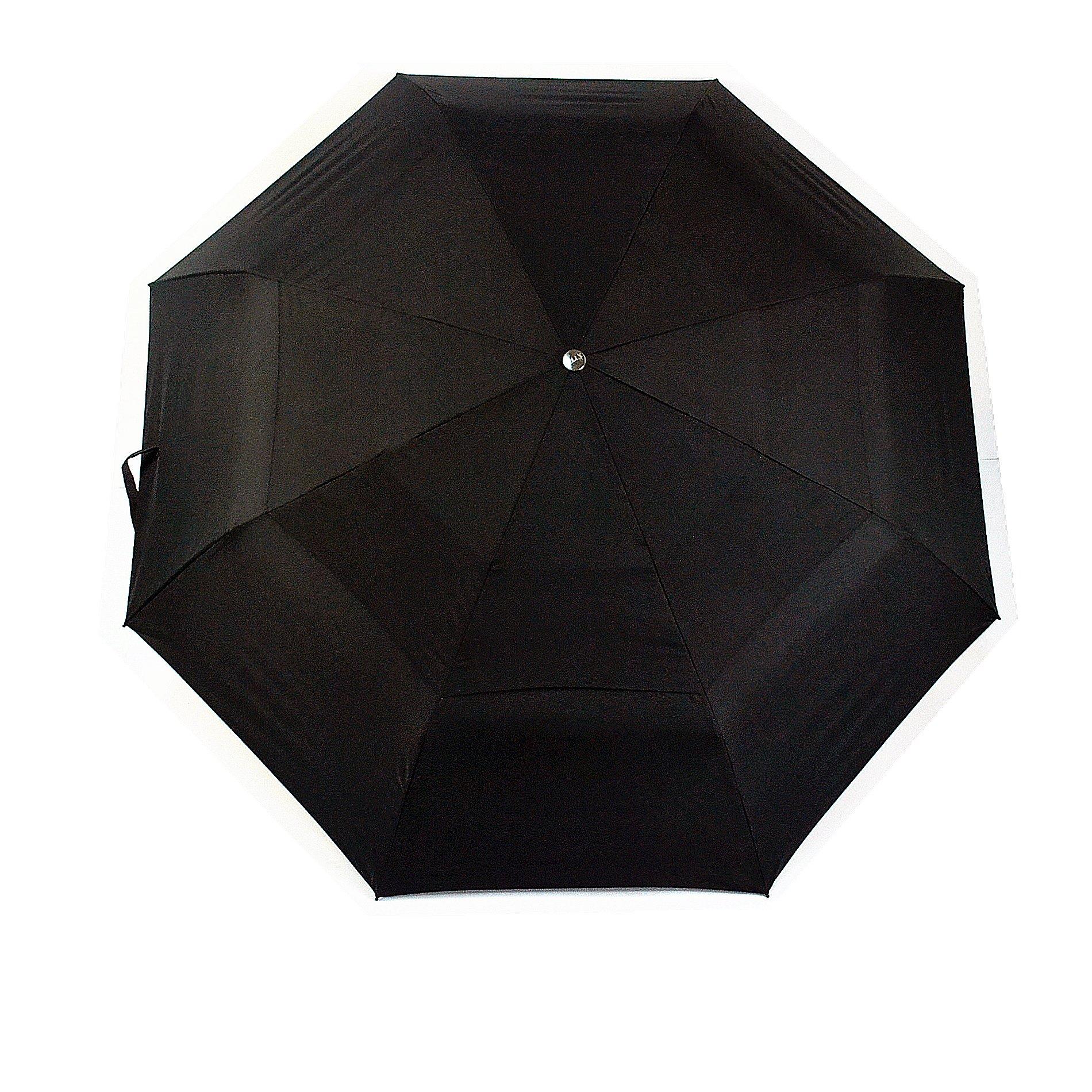 Umbrella Mens Windproof Auto Open Close Compact Travel Golf portable wooden handle black