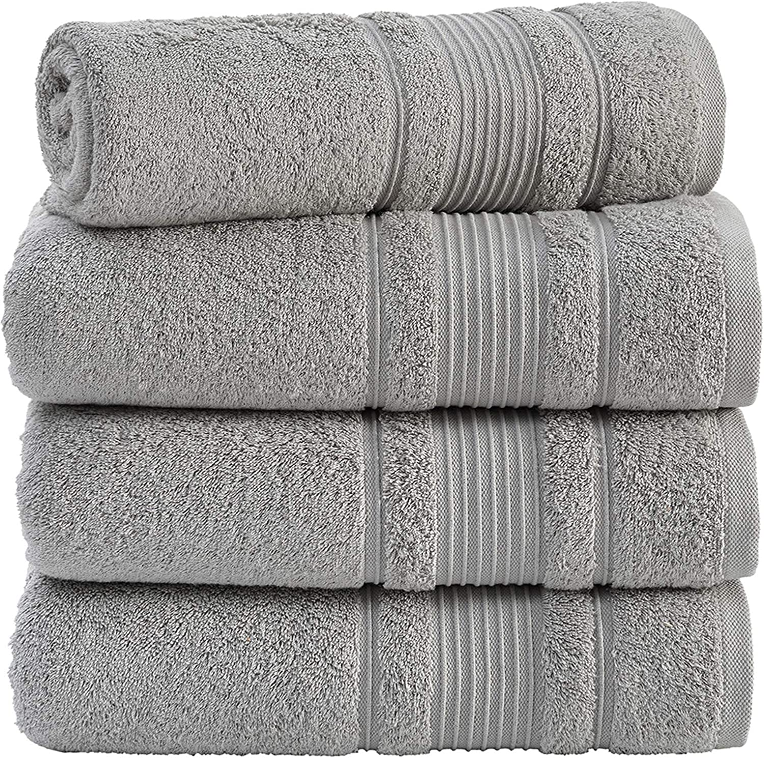 Qute Home 100% Turkish Cotton Bath Towels (27 x 52 inches) 4 Pieces Towel Set, Grey