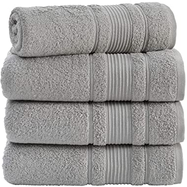 Qute Home 100% Turkish Cotton Bath Towels (27 x 52 inches) 4 Pieces Towel Set, Grey