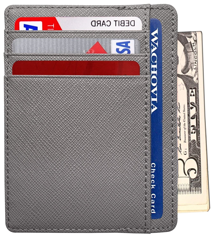 Mens Slim Front Pocket Minimalist RFID Blocking Leather Wallet Card Holder Besslly B01F3CBCBA