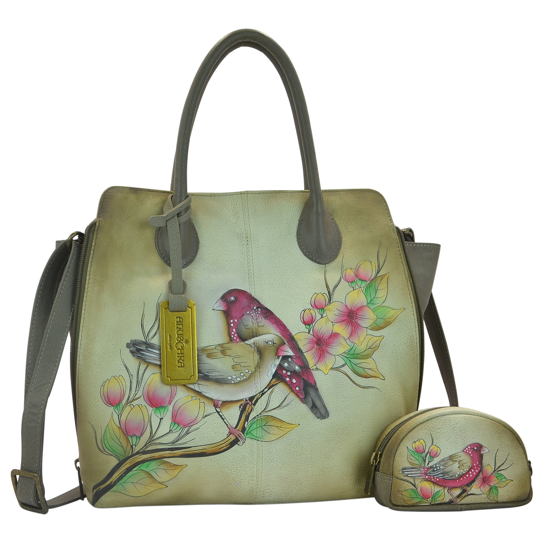 Anuschka Handpainted Leather Medium Expandable Convertible Tote, Summer Tryst