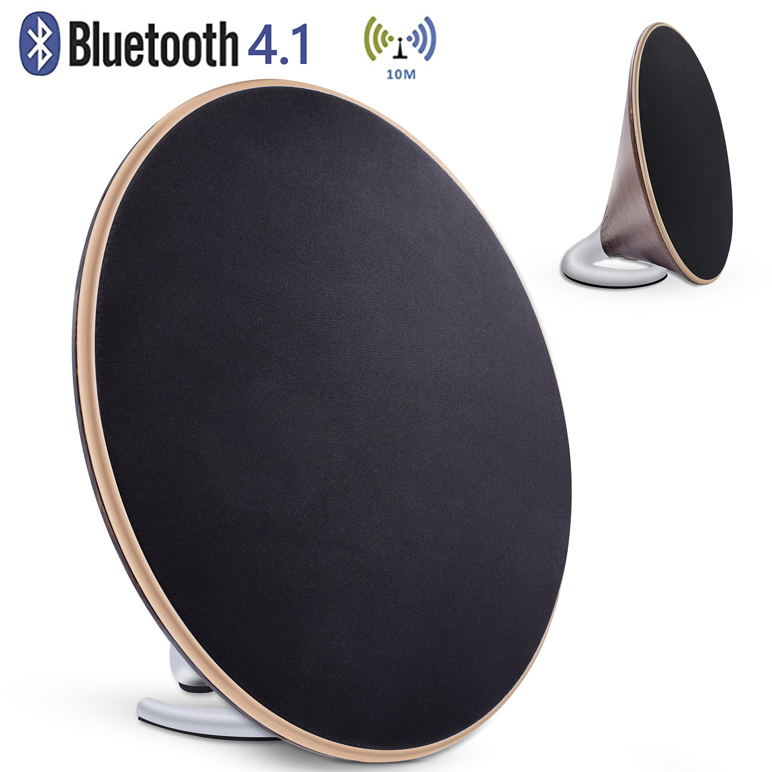 Bookshelf Speaker with Bluetooth - Retro wooden speaker, 40W Powered Bluetooth Speaker, 3D Stereo Surround Speaker with 4 Equalize Modes and DSP Technology by KEY IDEA