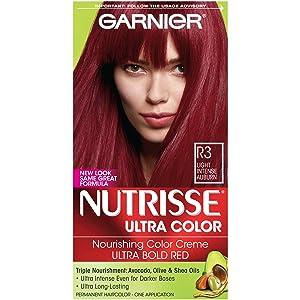 Garnier Nutrisse Ultra Color Nourishing Hair Color Creme, R3 Light Intense Auburn(Packaging May Vary), Pack of 1