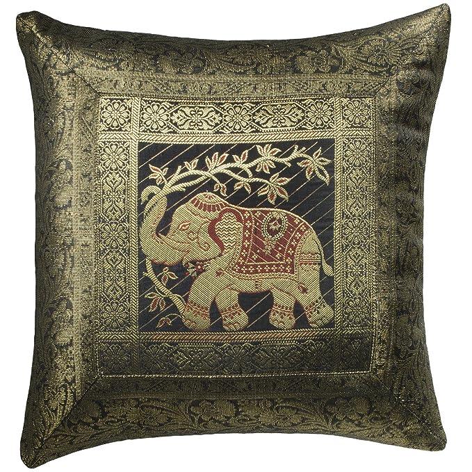 Indian Arts Fairtrade Indian Brokat Arbeit Elefanten Baumwollkissen Handloom, schwarz, 45 x 45 cm