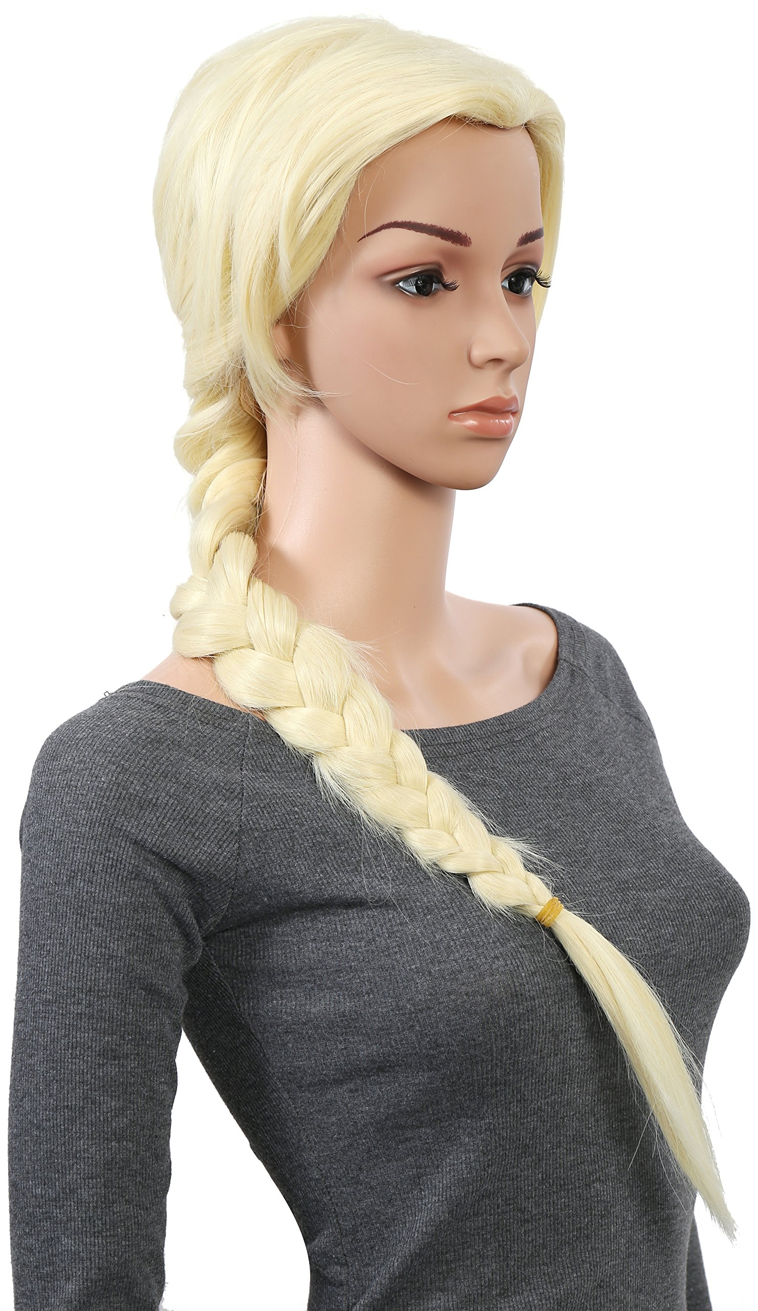 OneDor Long Braided Ponytail Cosplay Costume Light Blonde Wig by Onedor (Image #2)