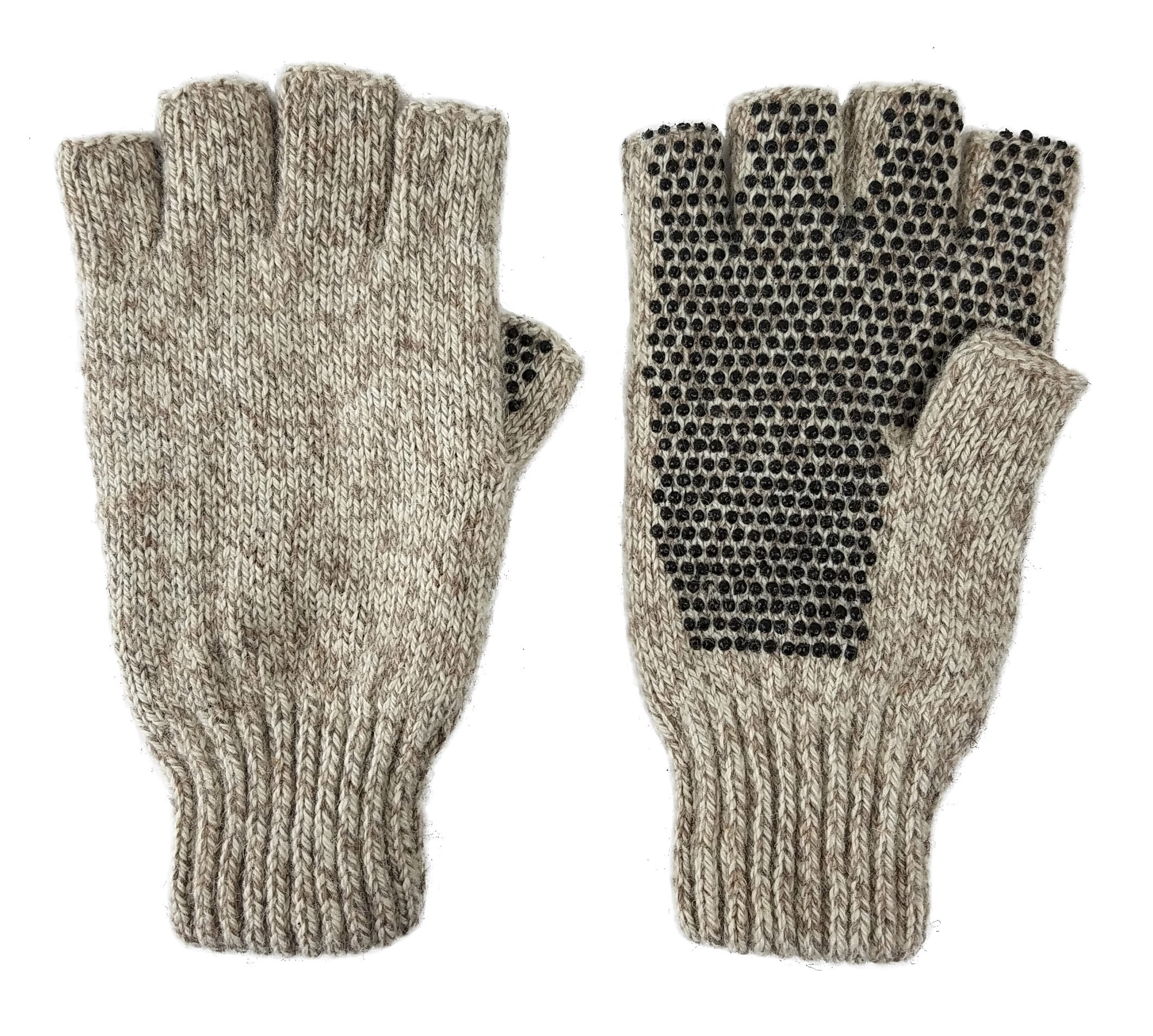 Bruceriver Men's Wool knitted with Thinsulate lining Fingerless Ragg Gloves Colour Beige