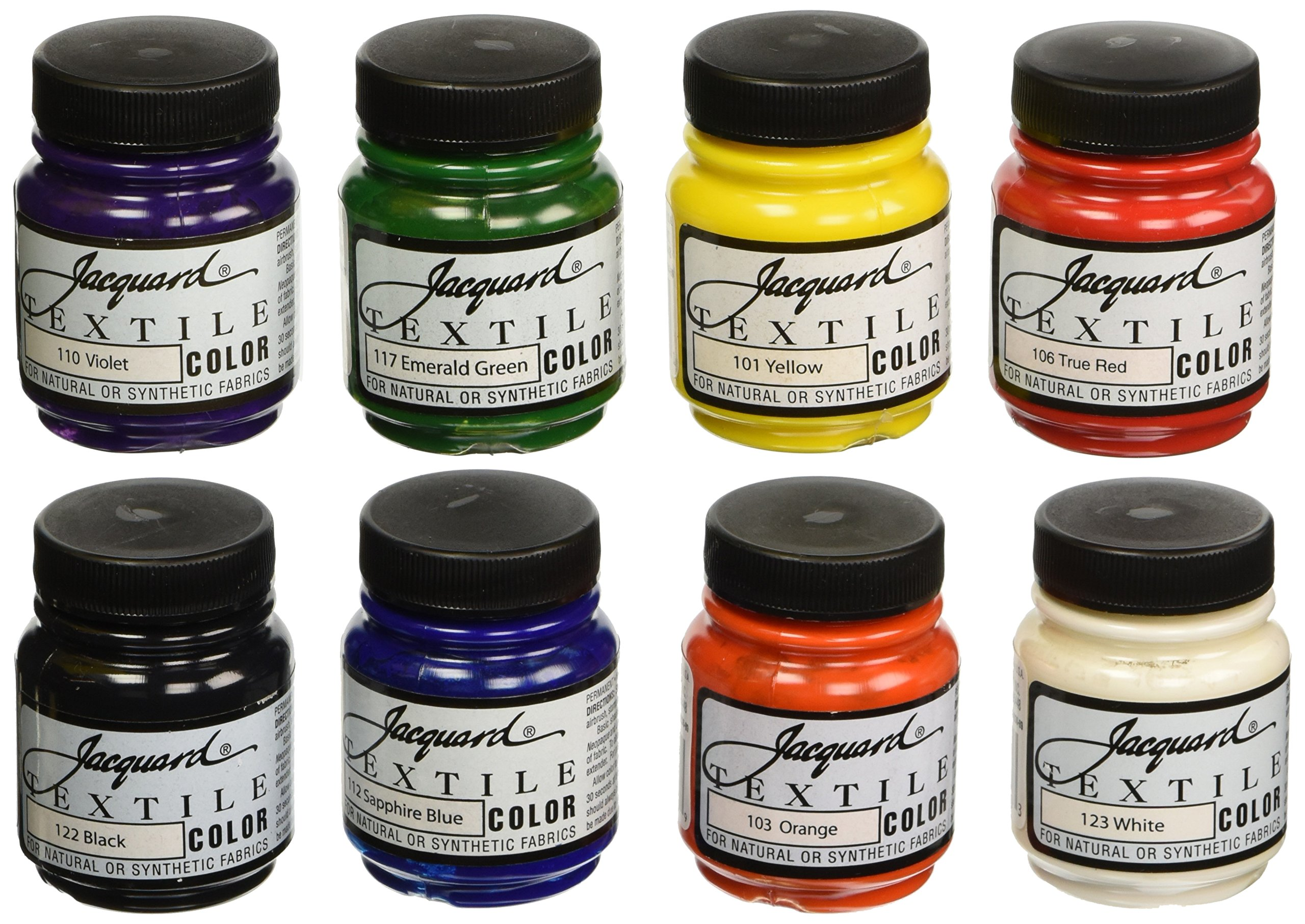 Jacquard Non-Toxic Professional Quality Artists Textile Paint Set, 2.25 oz Jar, Assorted Color, Set of 8 - 458246 by Jacquard