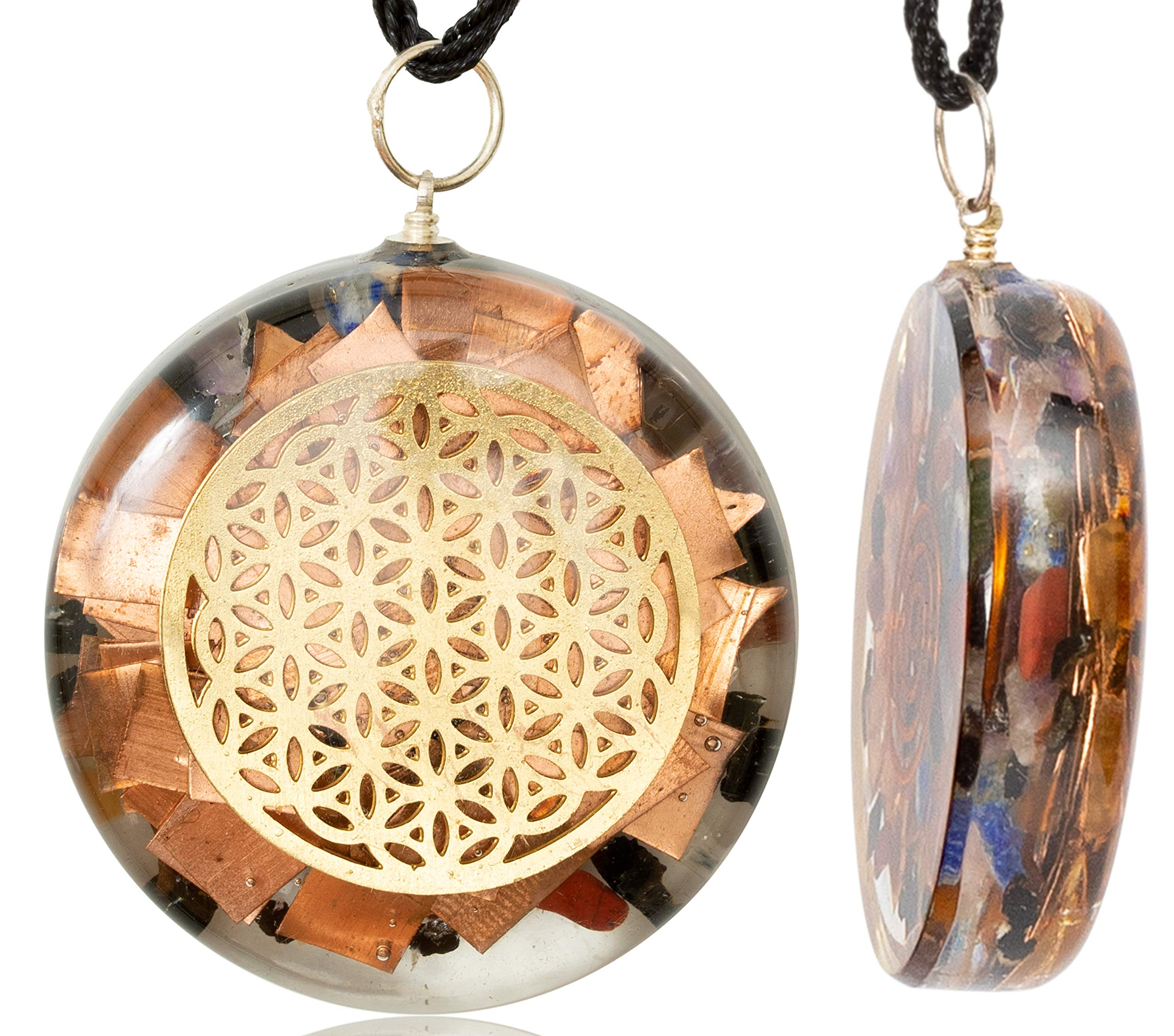 QUANTHOR 1.6 inch Flower of Life Orgone Pendant Generator Energy Accumulator EMF Protection | Reiki Charged Orgonite Pendants | EMF Radiation Protection Energy Pendant by QUANTHOR