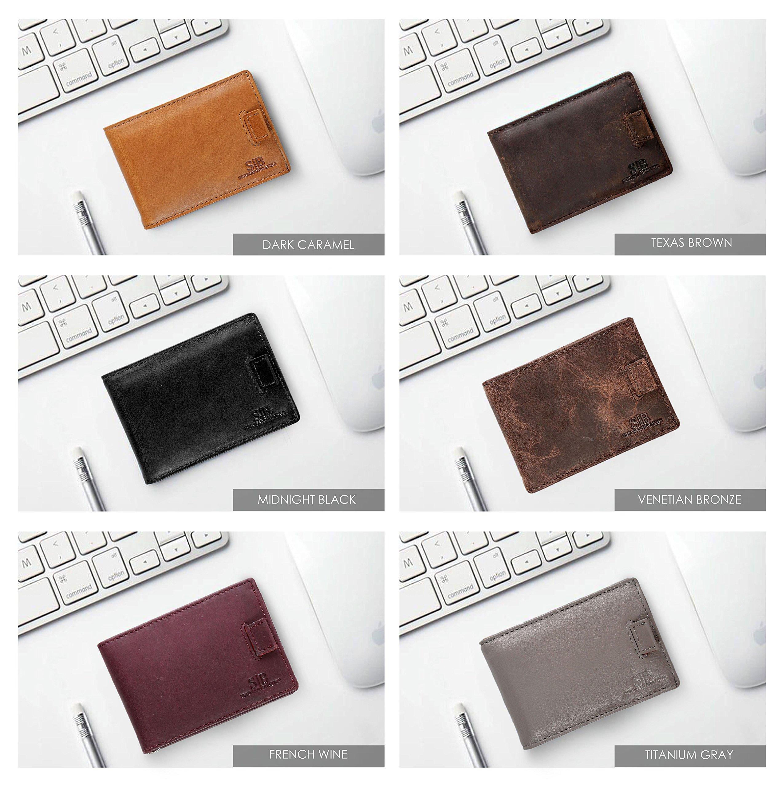 28554d2930c SERMAN BRANDS RFID Blocking Bifold Slim Genuine Leather Minimalist Front  Pocket Wallets for Men Money Clip   Wallets   Clothing