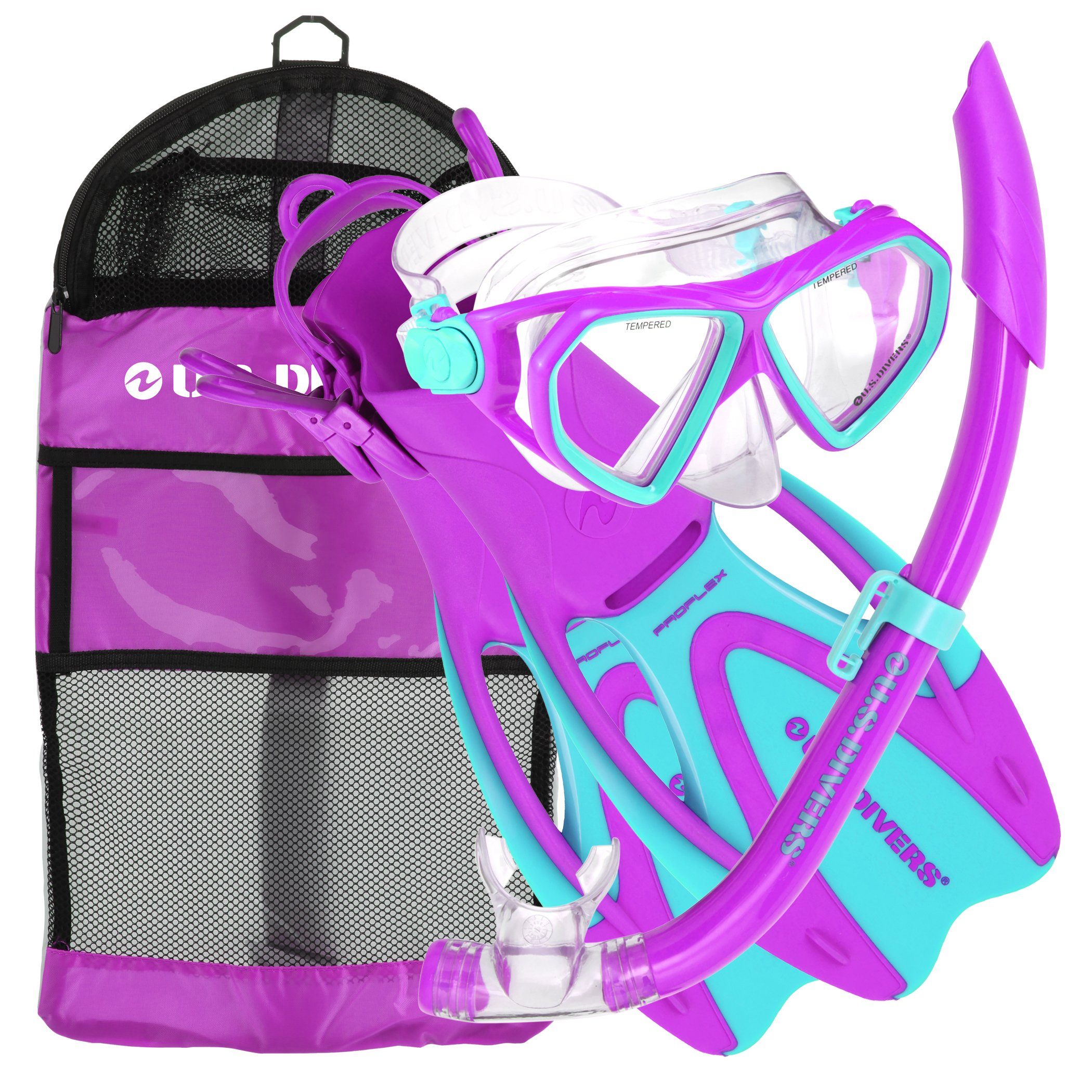 U.S. Divers Dorado JR Mask Fins Snorkel Set, Fun Purple, Large by U.S. Divers