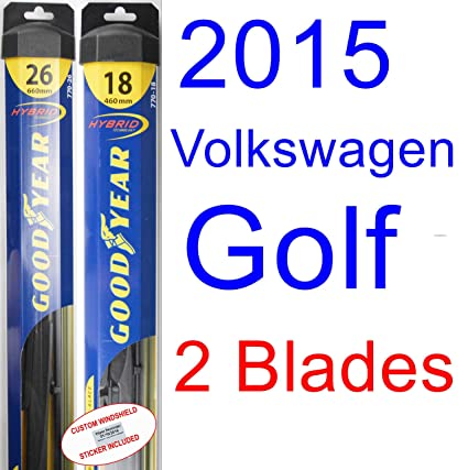 Amazon.com: 2015 Volkswagen Golf Replacement Wiper Blade Set/Kit (Set of 2 Blades) (Goodyear Wiper Blades-Hybrid): Automotive