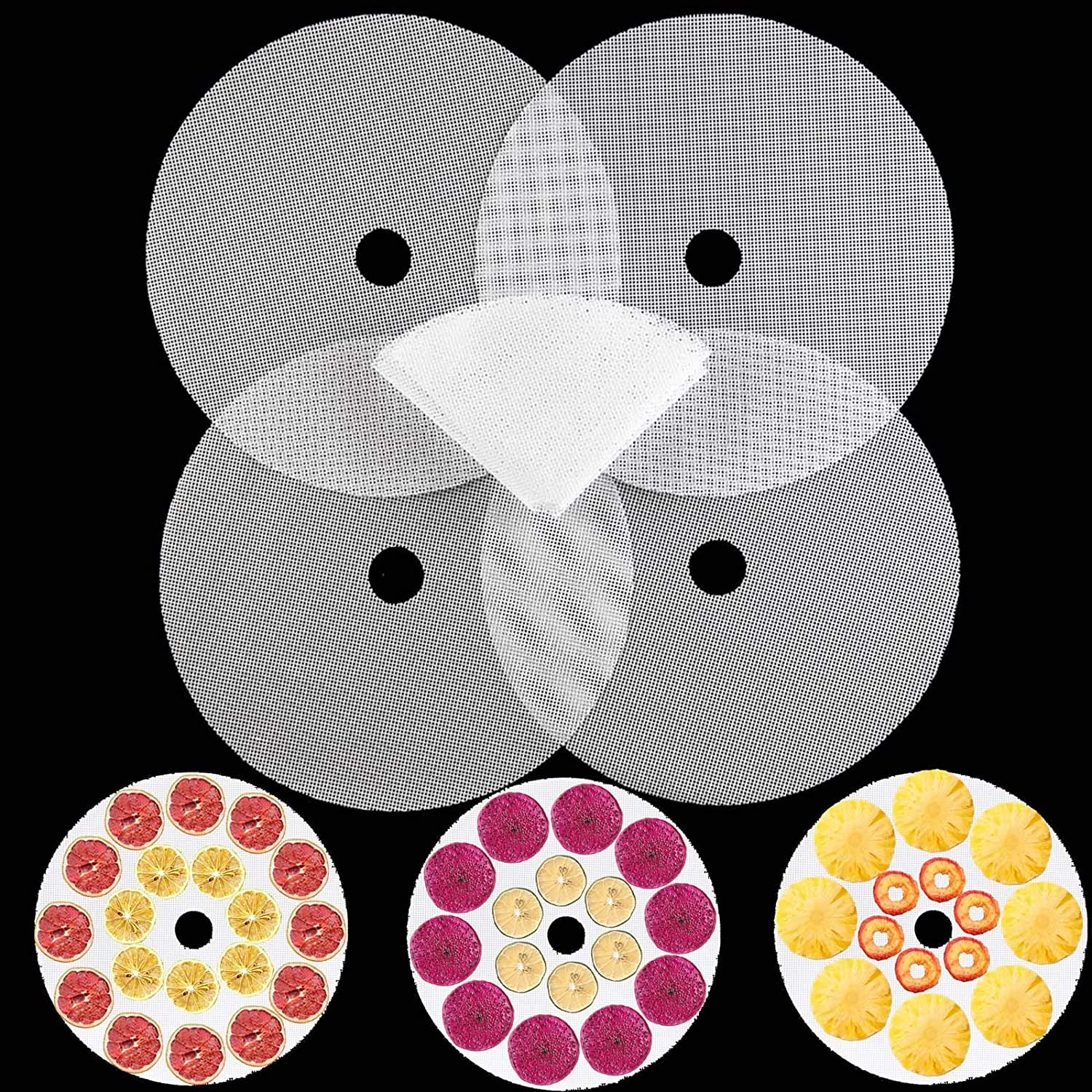 5 PCS Round Silicone Dehydrator Sheets, Premium Non Stick Food Fruit Dehydrator Mats, Reusable Steamer Mesh Silicone Baking Mats for Fruit Dryer Mesh, Top Dehydrator Accessories