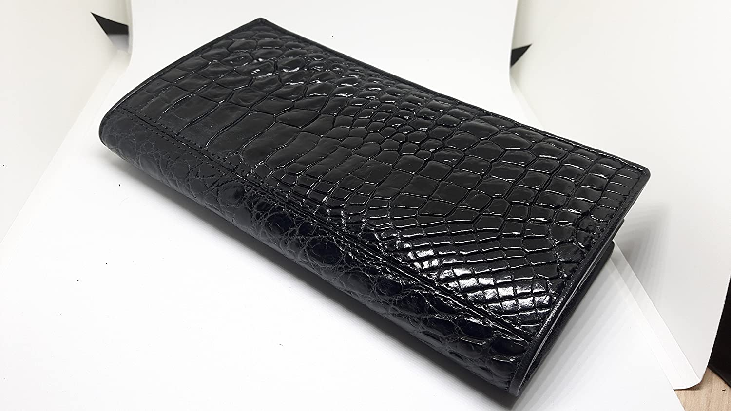 Crocodile paw Leather Memon BEAUTIFUL WOMEN GENUINE CROCODILE LETHER CLUTCH BIFOLD WALLET SIZE = 3.7 INCHES X 7.5 INCHES BLACK