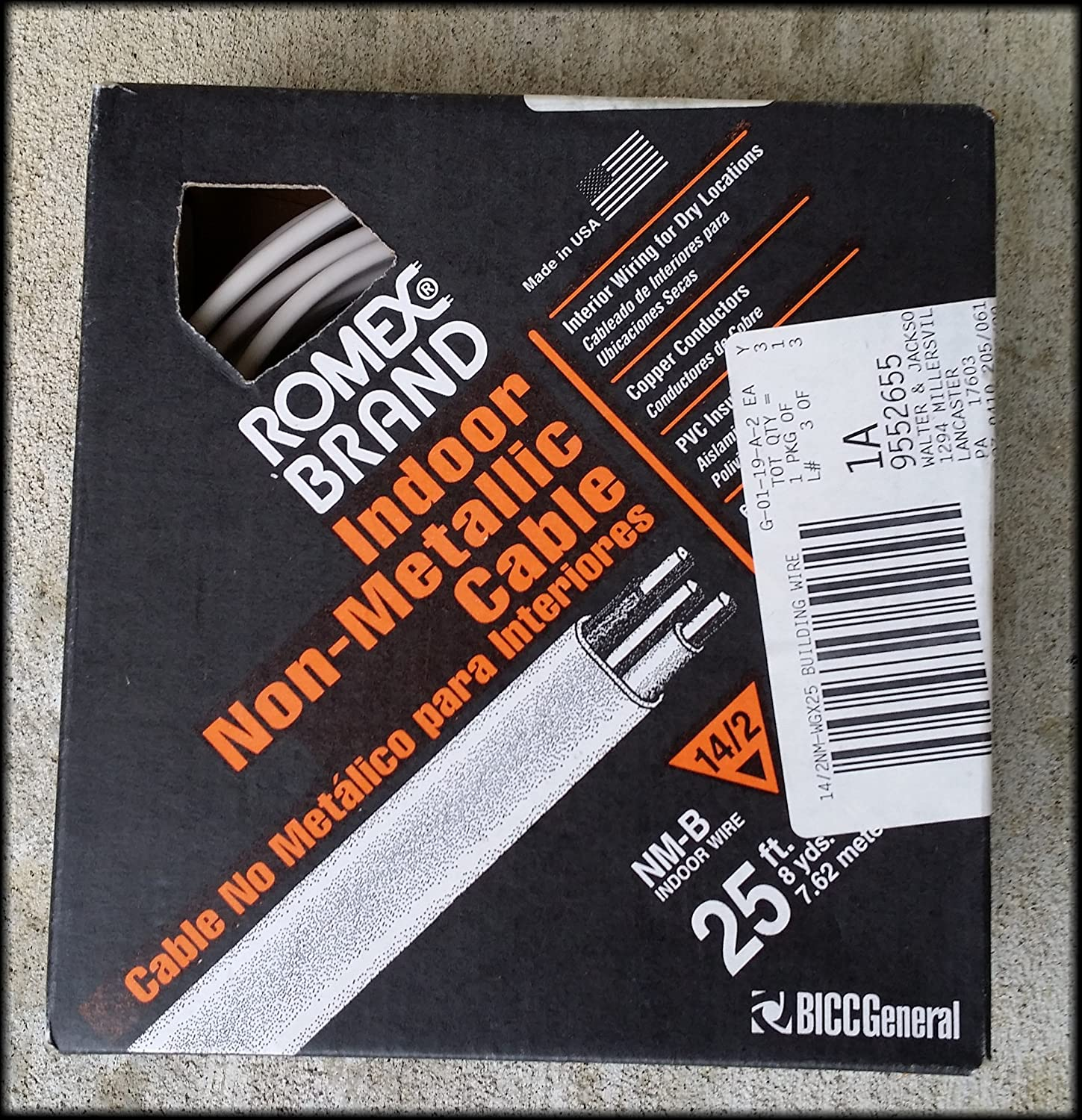 Romex Brand 25 Feet Indoor Non-Metallic Cable Mint In Package ...