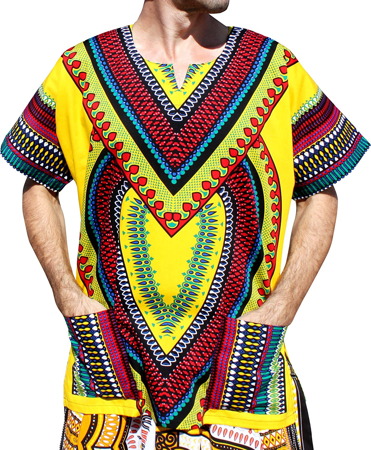 99a480f39ce 100% Cotton RaanPahMuang quality hand made Fair Trade Thai clothing brand.  Bright bold African Dashiki print. Large open collar