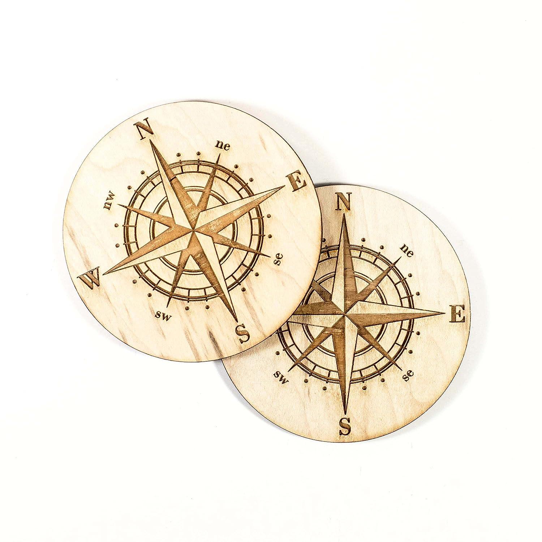 Compass Rose Coaster Set of 2 Raw Wood - penchura com
