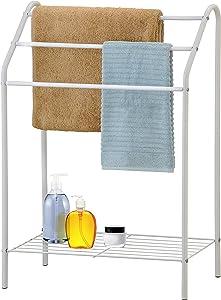 MyGift Freestanding 3 Tier Metal Towel Rack, Chrome Bathroom Towel Bar, White