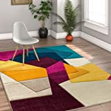 """Strata Squares Blue Purple Fuchsia Yellow Orange Modern Geometric Hand Carved 5x7 (5'3"""" x 7'3"""" ) Area Rug Easy to Clean Stain & Fade Resistant Thick Soft Plush"""