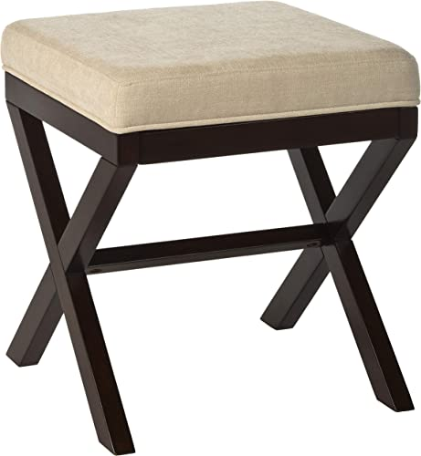 MORGAN WOOD AND UPHOLSTERED BACKLESS VANITY STOOL ESPRESSO