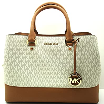 2a856e81bdb5 Amazon.com: Michael Kors Savannah Large Satchel Vanilla Acorn: Shoes
