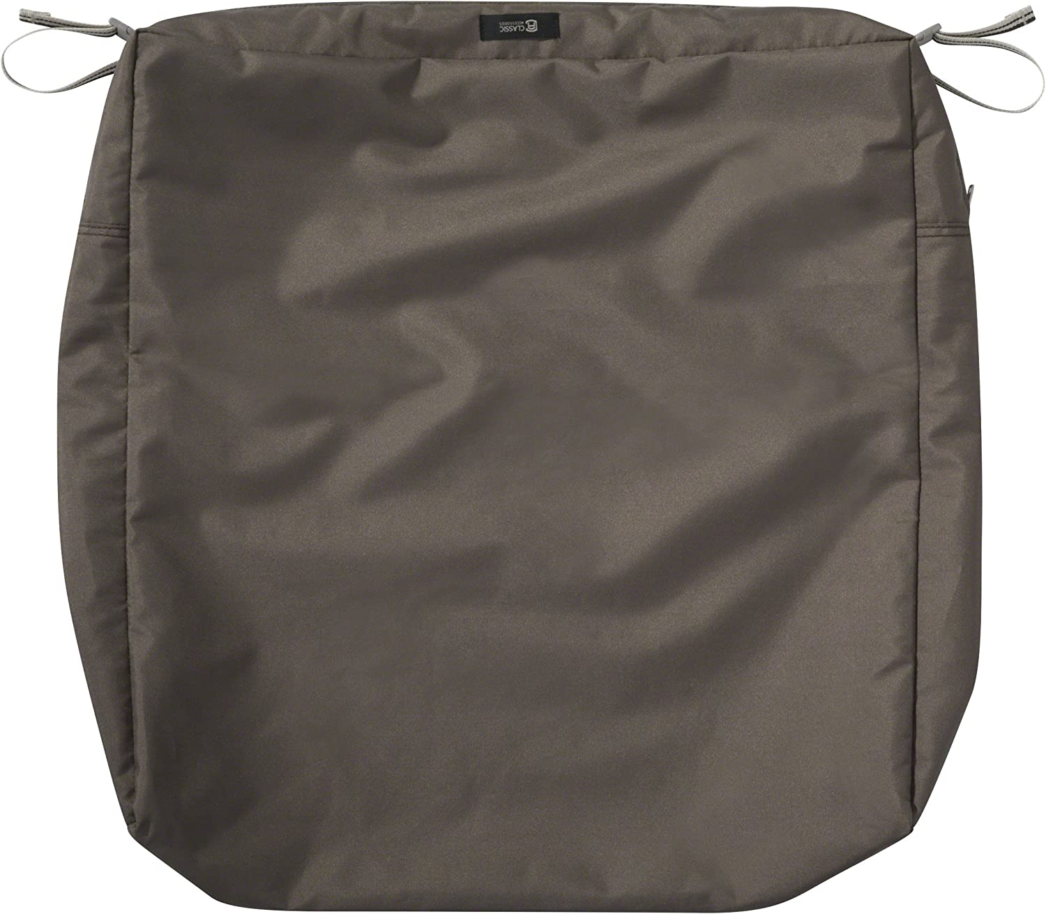Classic Accessories Ravenna Water-Resistant 21 x 19 x 5 Inch Rectangle Outdoor Seat Cushion Slip Cover, Patio Furniture Chair Cushion Cover, Dark Taupe