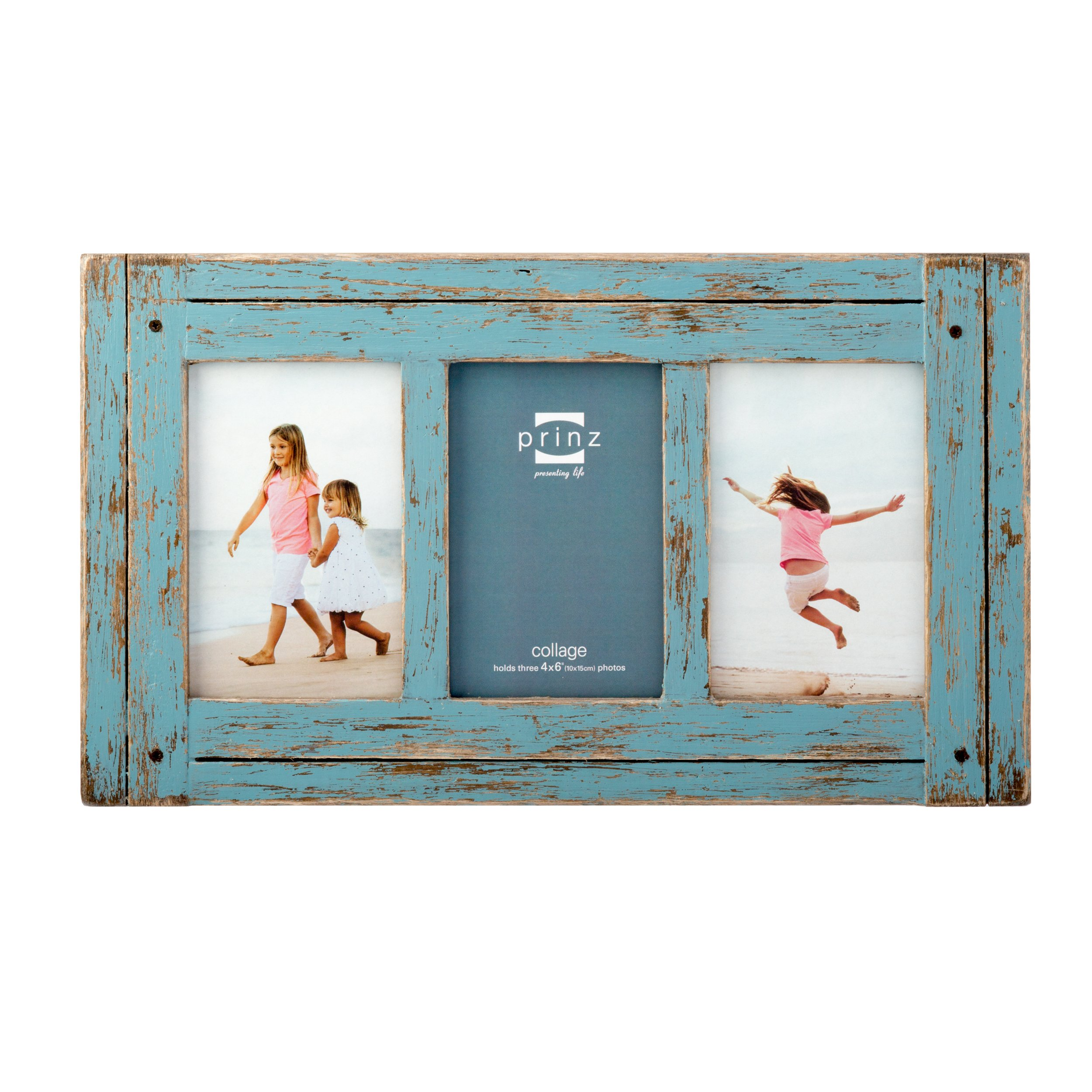 Prinz 3 Opening Homestead Antique Wood Collage Frame, 4 x 6'', Blue