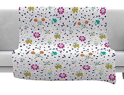 40 x 30 KESS InHouse Yenty Jap Autumn Spots Orange Green Fleece Baby Blanket