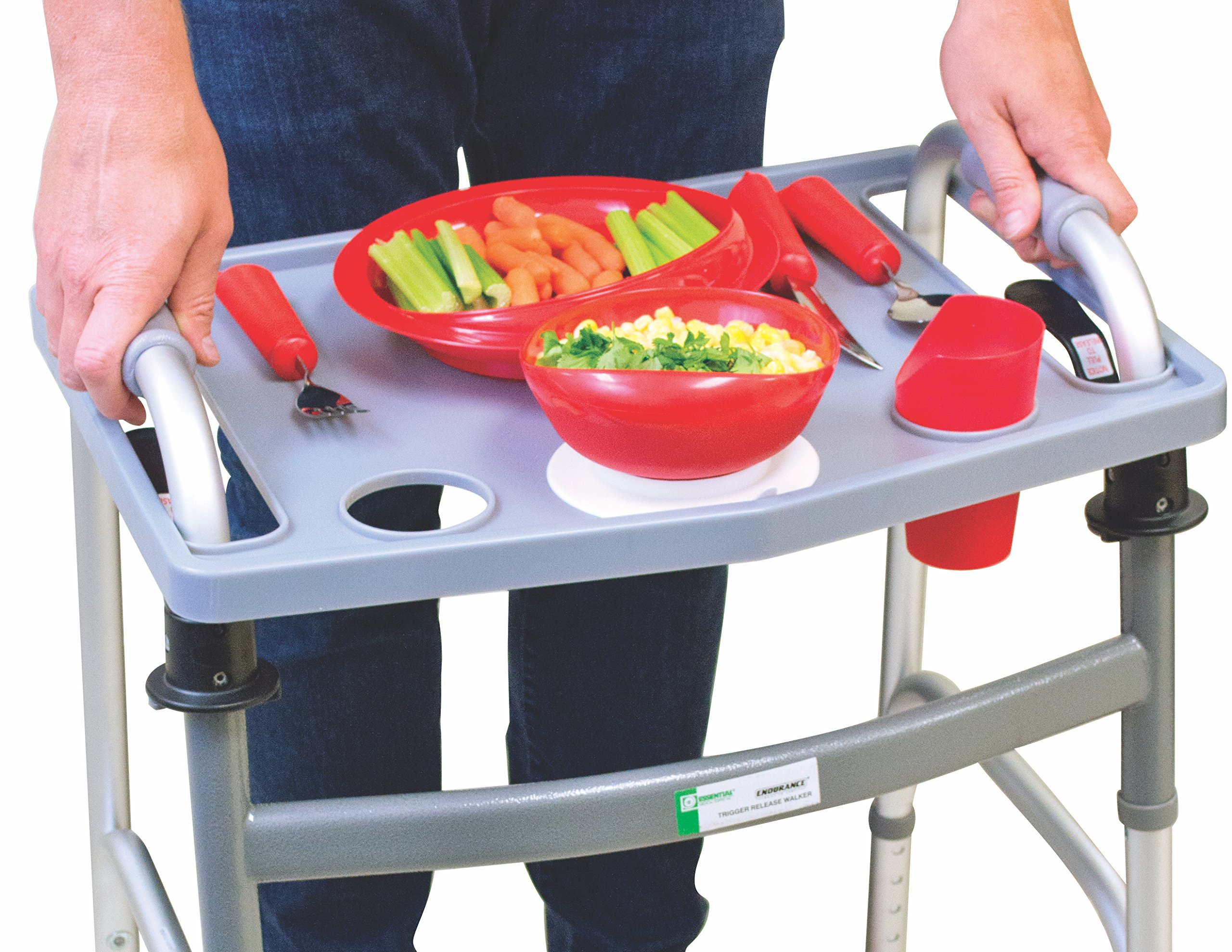 Essential Medical Supply Universal Folding Walker Tray with Cup Holders