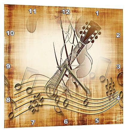 3dRose marrón Grunge Fondo de Notas Musicales con Guitarra eléctrica ...