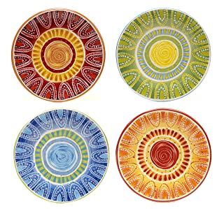 Certified International Tapas Salad/Dessert Plate, 8.75-Inch, Assorted Designs, Set of 4 by Certified International Certified International Corp 15861SET/4