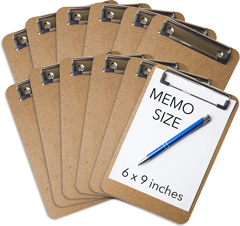 "Mini Clipboard 6"" x 9"" (Set of 12) Memo Clipboard   Small Clipboard   ECO Friendly   Small Clipboards Pack   Mini Clipboards   Low Profile Clip, Classroom Supplies (Pen NOT Included)"