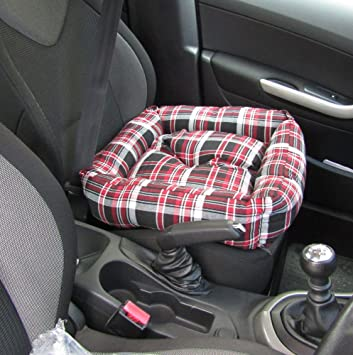 XtemeAutoR Pet Dog Car Rear Bench Seat Cover Bed Cushion Pad Red Tartan Plaid