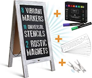 """HBCY Creations Rustic Magnetic A-Frame Chalkboard Deluxe Set / 8 Chalk Markers + 10 Stencils + 2 Magnets! Outdoor Sidewalk Chalkboard Sign/Large 40"""" x 20"""" Sturdy Sandwich Board (The Deluxe Set)"""