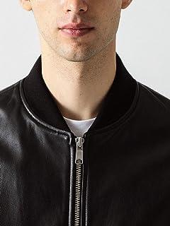 Sheep Leather Bomber Jacket 1225-199-8565: Black