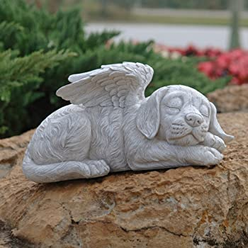 Dog memorial pet angel statue: stone