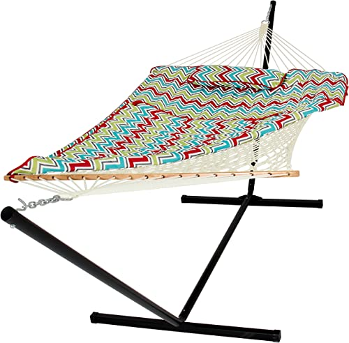 Best Choice Products Cotton Multicolor Rope Hammock and Stand Combo W Pad, Pillow