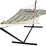 Best Choice Products Cotton Multicolor Rope Hammock And Stand Combo W/ Pad, Pillow