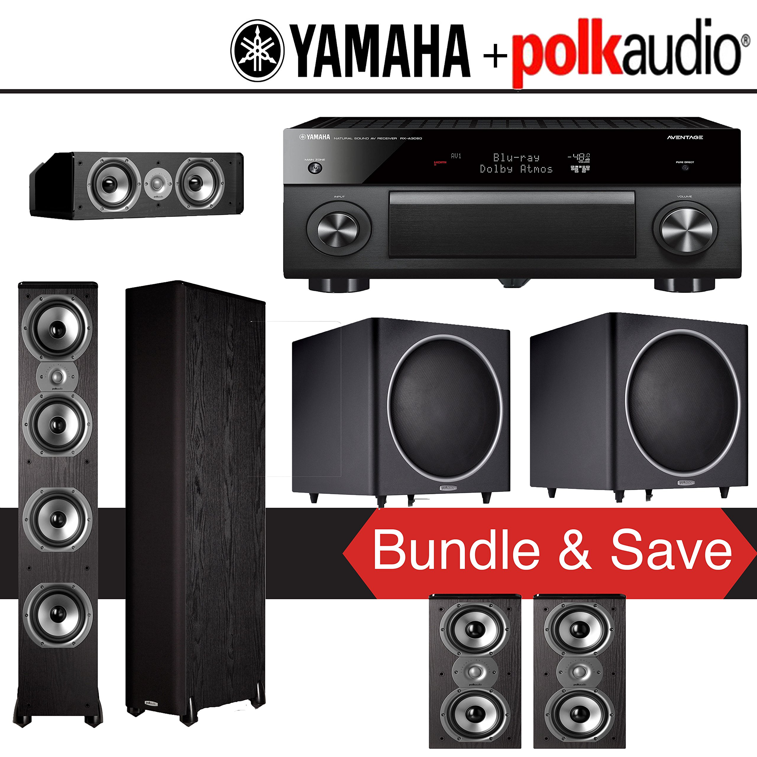 Yamaha RX-A3060BL AVENTAGE 11.2-Channel Network A/V Receiver + Polk Audio TSi 500 + Polk Audi TSi 200 + Polk Audio CS10 + Polk Audio PSW125 - 5.2-Ch Home Theater Package by Polk Audio