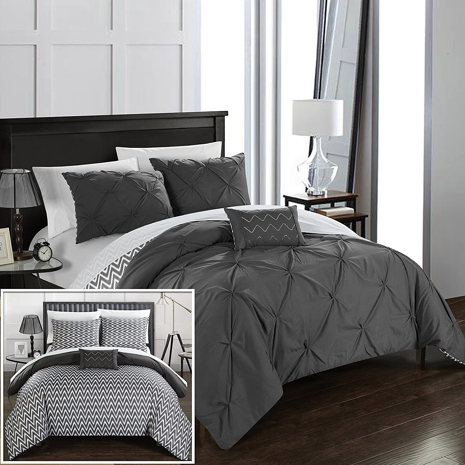 Chic Home 8 Piece Jacky Pinch Pleated Reversible Full/Queen Bed in a Bag Comforter Set Grey with Sheet Set