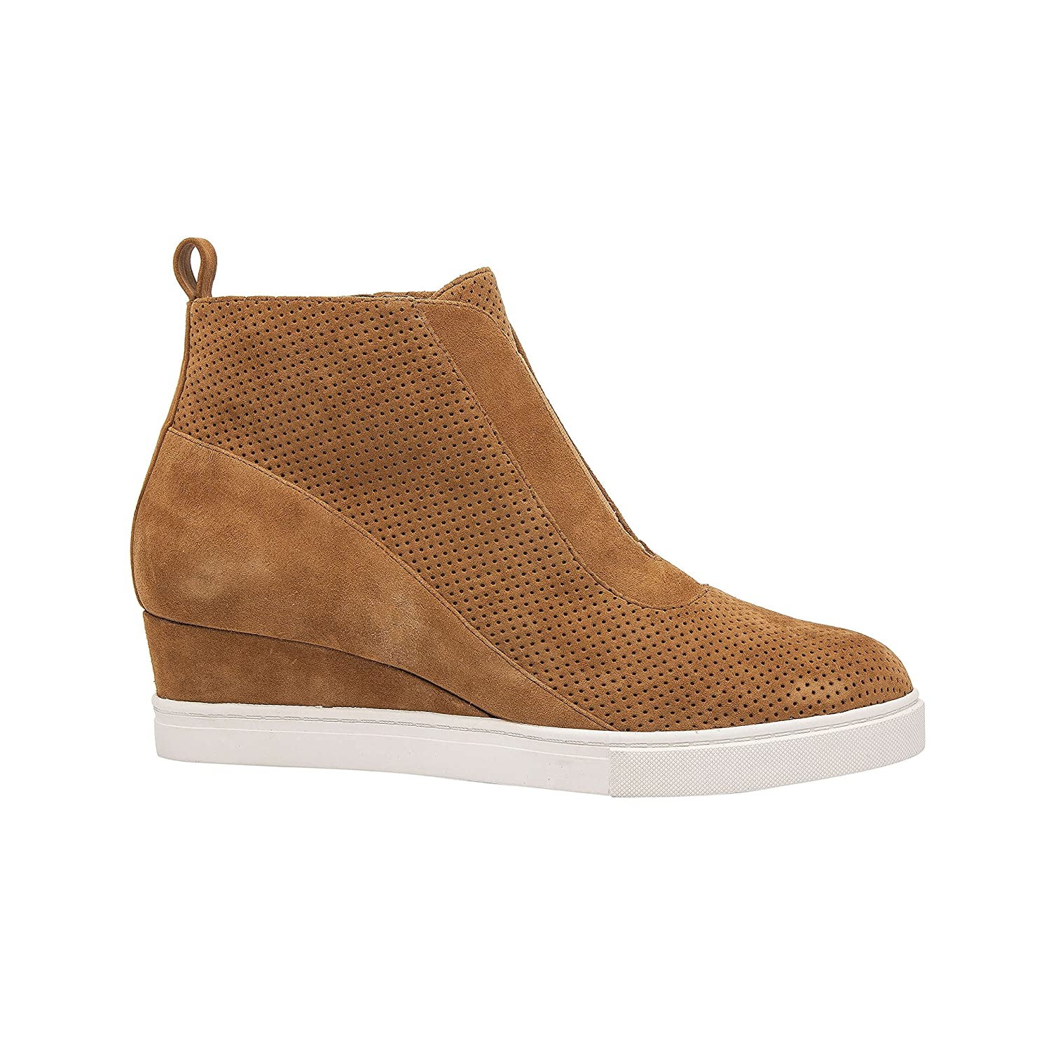 Linea Paolo Anna | Low Heel Designer Platform Wedge Sneaker Bootie Comfortable Fashion Ankle Boot (New Fall) B07F6QR7LP 10 M US|Toffee Perforated Suede