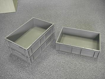 5 Neue Kunststoff Aufbewahrung Kisten Box Container 28 L Grau