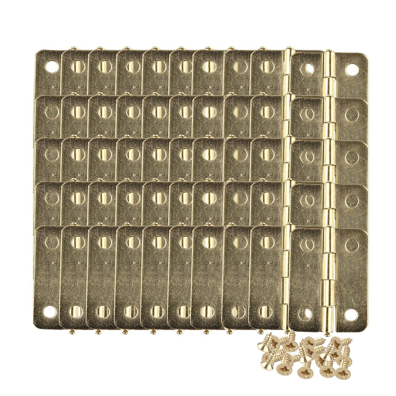 mit 200 St/ück Ersatzschrauben Schrank Schublade mit Messing beschichtet 23 x 19 mm 50 St/ück Mini Scharnier-Anschl/üsse f/ür Schmuck