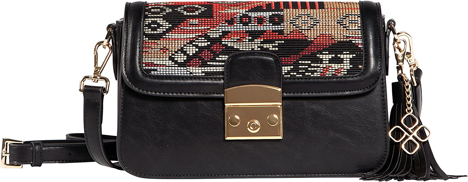 Red Grace Crossbody with Trendy Multi-Color Red Raffia Pattern Fitted with Detachable Tassel and Interchangeable Flap