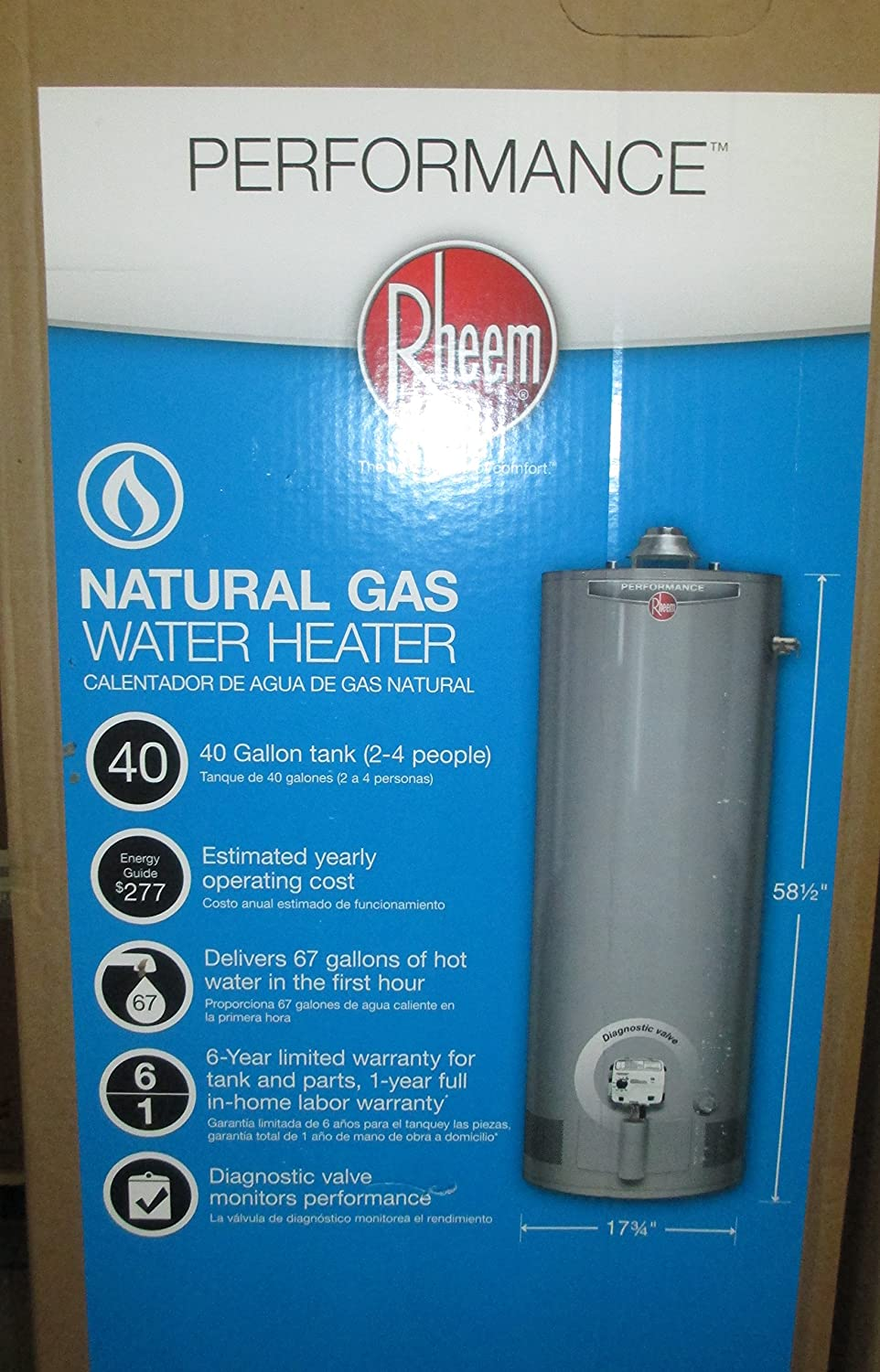 Performance 40 gal. Tall 6 Year 36, 000 BTU Natural Gas Water Heater - - Amazon.com