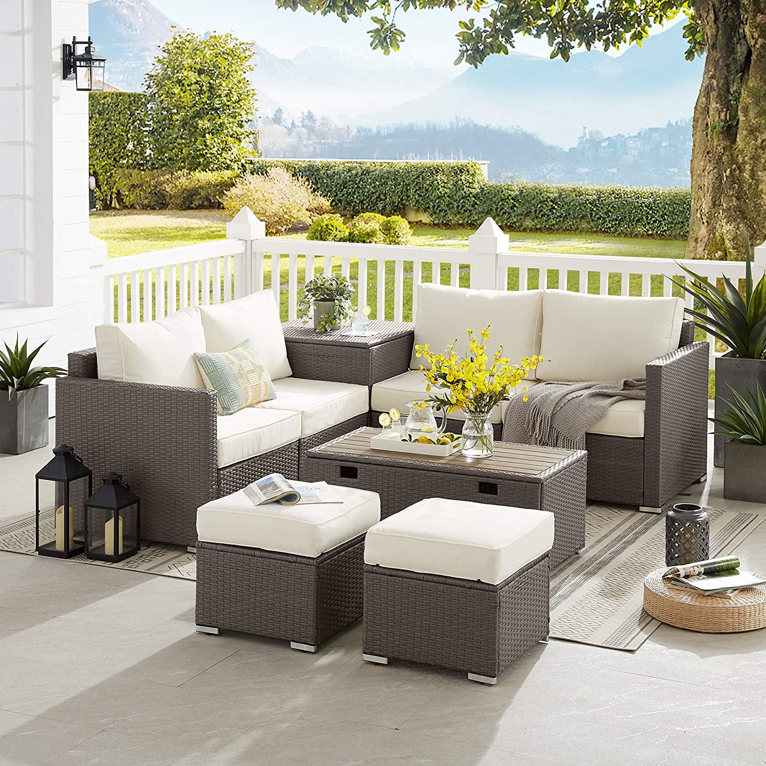 Tribesigns 8 Pieces Patio Furniture Set with 2 Storage Tables & Soft Cushions, Extra Large Outdoor Sectional Sofa, Wicker Rattan Couch Conversation Set for Garden, Porch, Backyard, BN-Beige