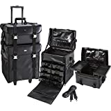 Seya 2 in 1 Professional Makeup Artist Rolling Makeup Train Case Cosmetic Organizer Soft Trolley w/ Storage Drawers & Upgraded Metal Buckles