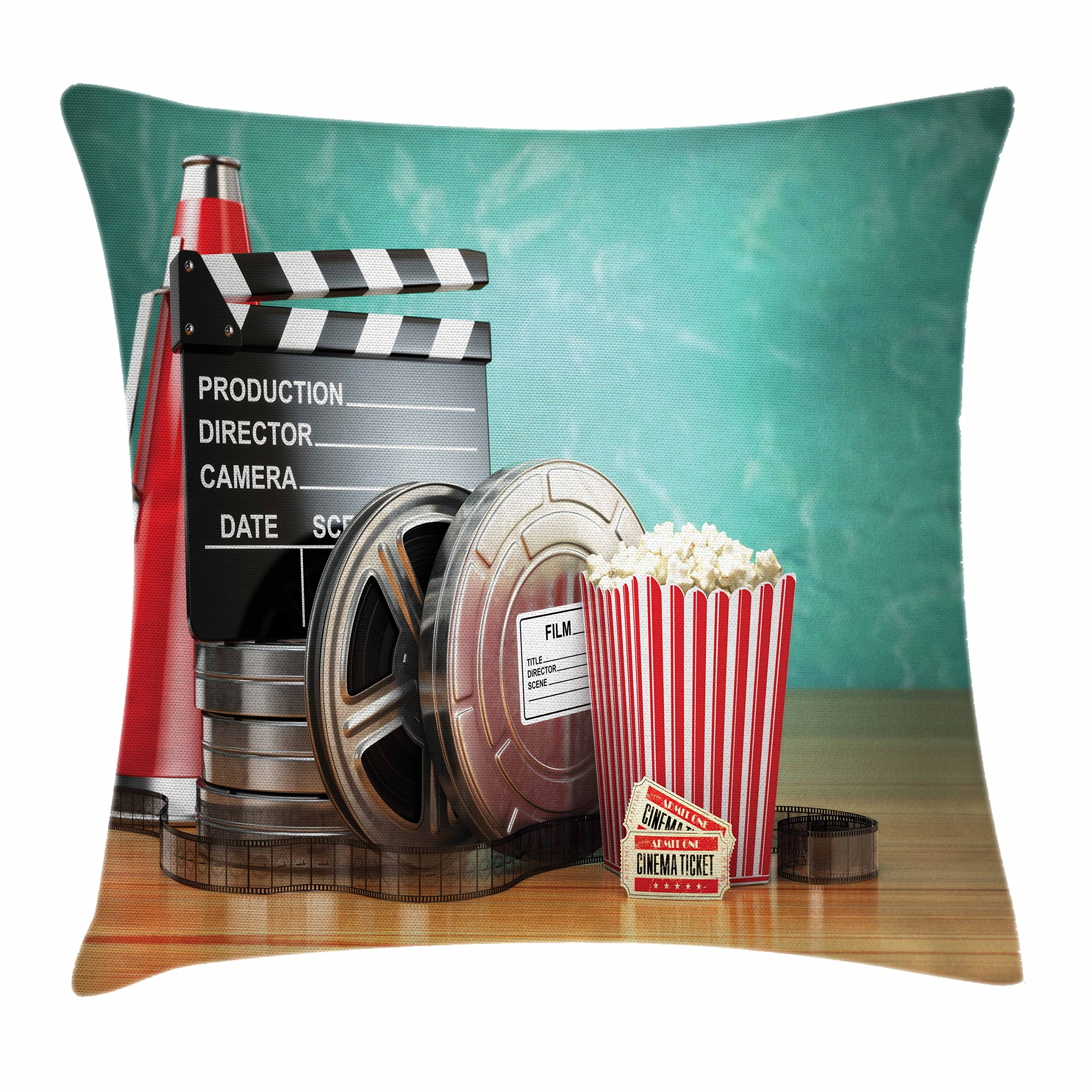 Ambesonne Movie Theater Throw Pillow Cushion Cover, Production Theme 3D Film Reels Clapperboard Tickets Popcorn and Megaphone, Decorative Square Accent Pillow Case, 24 X 24 inches, Multicolor
