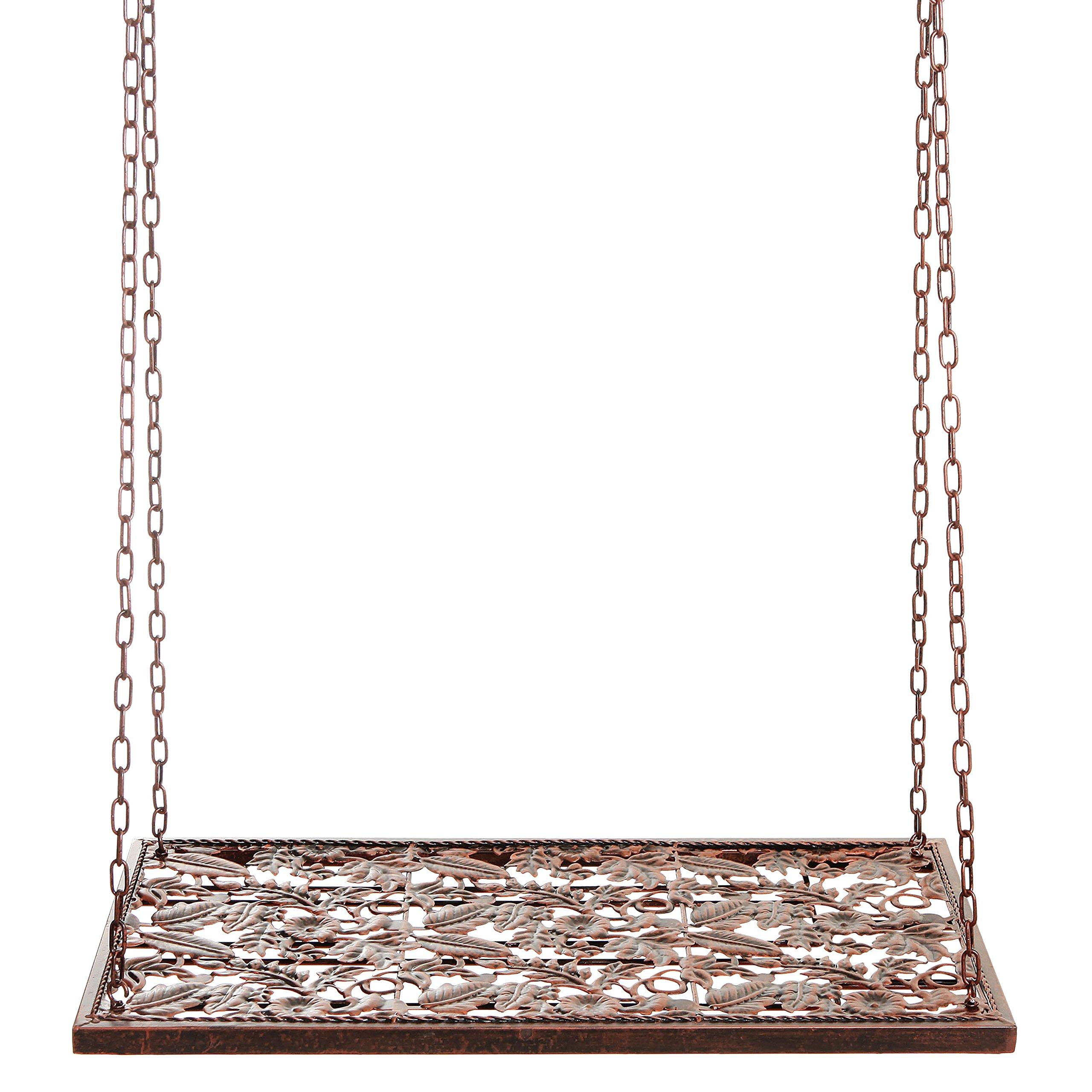 Vineyard Country Rustic Bronze Metal Ceiling Mounted Hanging Stemware Wine Glass Hanger Organizer Rack by MyGift (Image #5)