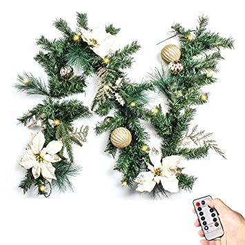 Costyleen 6 Feet Christmas Garland Decorations Outdoor Indoor Artificial Pine Wreath Xmas Decors With Remote Controlled 30 Led Lights Gold Ball