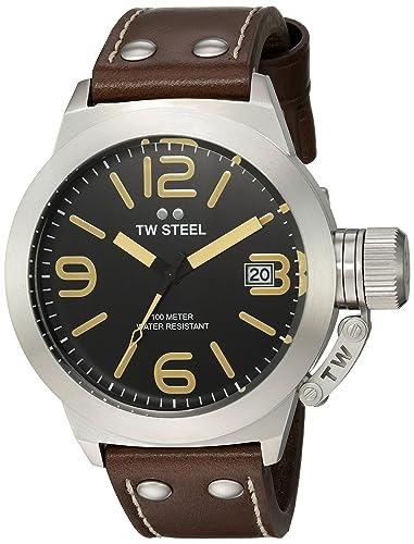 a6f96af16859 TW Steel Reloj Analógico para Unisex de Cuarzo con Correa en Cuero CS31   Amazon.es  Relojes